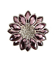 Napier® Boxed Silvertone and Purple Floral Pin