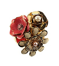 Napier® Boxed Goldtone and Coral Multi Color Cluster Flower Pin