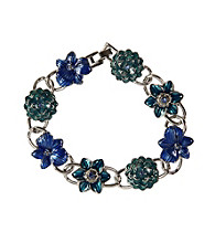 Napier® Boxed Silvertone and Blue Floral Line Bracelet