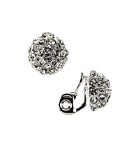 Napier® Silvertone and Crystal Button Clip Earrings