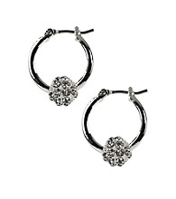 Napier® Silvertone and Crystal Click It Hoop Pierced Earrings