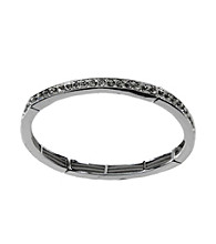Napier® Silvertone and Crystal Stretch Bracelet
