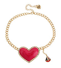 Betsey Johnson® Pink Large Heart Pendant Necklace
