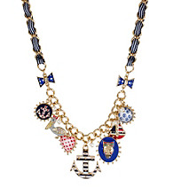 Betsey Johnson® Blue Anchor & Skull Multi Charm Frontal Necklace