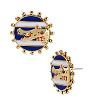 Betsey Johnson® Blue Round Alligator Stud Earrings