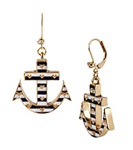 Betsey Johnson® Blue Striped Anchor Drop Earrings
