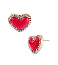 Betsey Johnson® Pink Heart Stud Earrings