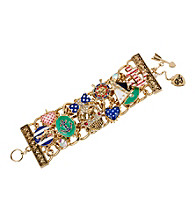 Betsey Johnson® Skull & Multi-Colored Charms Wide Toggle Bracelet