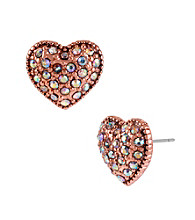 Betsey Johnson® Crystal Heart Stud Earrings