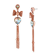 Betsey Johnson® Crystal Heart & Mesh Bow Linear Earrings