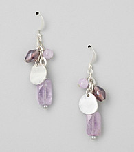 Laura Ashley® Silvertone Semi-Precious Cape Amethyst Cluster Earrings