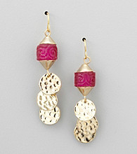Laura Ashley® Pink/Goldtone Drop Earrings with Shaky Discs
