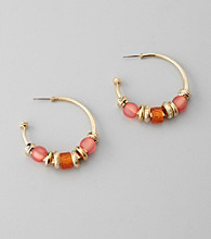 Laura Ashley® Pink/Goldtone Embellished Hoop Earrings