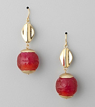 Laura Ashley® Pink/Goldtone Two Bead Drop Earrings