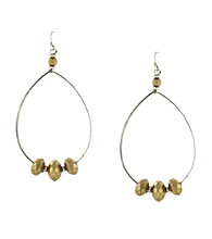 Jessica Simpson Two Tone Wire Hoop Drop Earrings