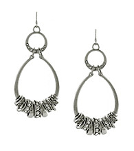 Jessica Simpson Silvertone Oval Drop Hoop Earrings with Spacers