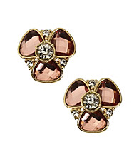 Anne Klein® Goldtone Flower Stud Clip Earrings