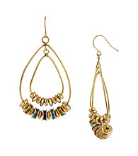 Kenneth Cole® Goldtone/Blue Geometric Bead Orbital Earrings