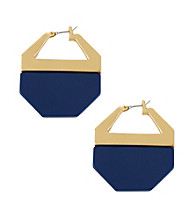 Kenneth Cole® Goldtone/Blue Geometric Hoop Earrings