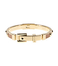Michael Kors® Goldtone & Astor with Luggage Leather Buckle Bangle