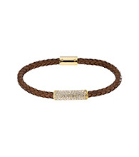 Michael Kors® Goldtone & Luggage Thin Braided Leather with Clear Crystal Pave Bracelet