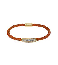 Michael Kors® Goldtone & Tangerine Thin Braided Leather with Clear Crystal Pave Bracelet