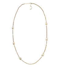 Michael Kors® Goldtone Multi MK Padlock Chain Necklace