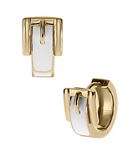 Michael Kors® Goldtone White Epoxy Buckle Huggie Earrings