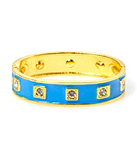 L&J Accessories Enamel and Crystal Hinged Bangle