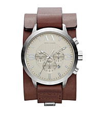 A|X Armani Exchange Men's Stainless Steel with Dark Brown Leather Street Cuff Watch