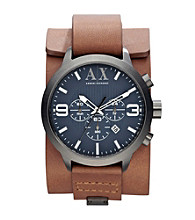 A|X Armani Exchange Men's Polished Gunmetal with Medium Brown Leather Street Cuff Watch