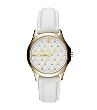 A|X Armani Exchange Women's Smart Goldtone and White Leather Quilted Watch