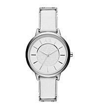 A|X Armani Exchange Women's Smart Stainless Steel and White Leather Watch