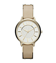 A|X Armani Exchange Women's Smart Stainless Steel and Goldtone with Beige Leather Watch