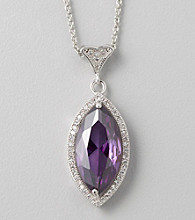 Designs by FMC Purple Cubic Zirconia Marquise-Cut Pendant