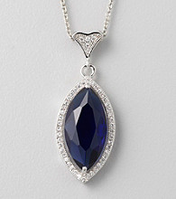 Designs by FMC Blue Cubic Zirconia Marquise-Cut Pendant