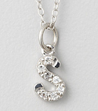 "Designs by FMC Sterling Silver and Cubic Zirconia ""S"" Initial Pendant"