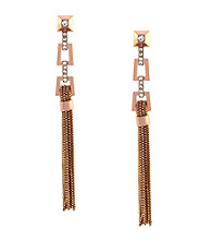 Vince Camuto™ Rose Goldtone Architectural Deco Linear Fringe Earrings