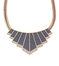 Vince Camuto™ Rose Goldtone and Grey Chevron Bib Necklace