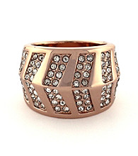 Vince Camuto™ Rose Goldtone and Stone Chevron Ring
