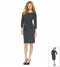 Tahari by Arthur S. Levine® Stripe Side Buckle Dress
