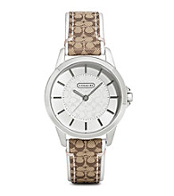 COACH KHAKI WHITE CLASSIC SIGNATURE STRAP WATCH