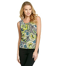 Evan-Picone® Printed Pleatneck Tank