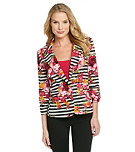 NY Collection Printed Ruched Sleeve Jacket