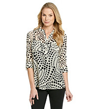 NY Collection Spiral Dot Printed Woven Top