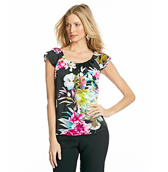 NY Collection Printed-Moonshadow Woven Top