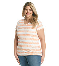 Relativity® Plus Size Stripe Printed V-neck Tee