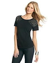 Relativity® Stud Shoulder Crewneck Tee