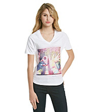 Mambo® Juniors' V-neck Dolman Love Screen Tee