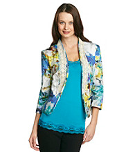 Notations® Open-Front Crochet-Trim Printed Blazer